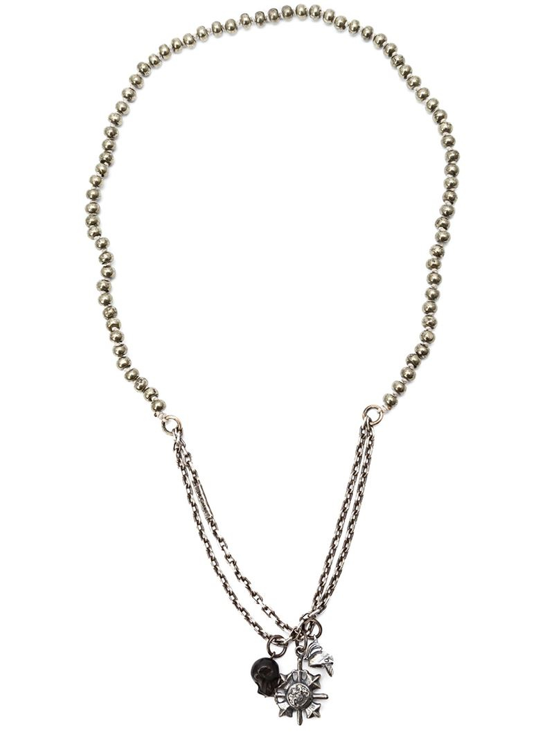 m cohen skull charm necklace in metallic for lyst