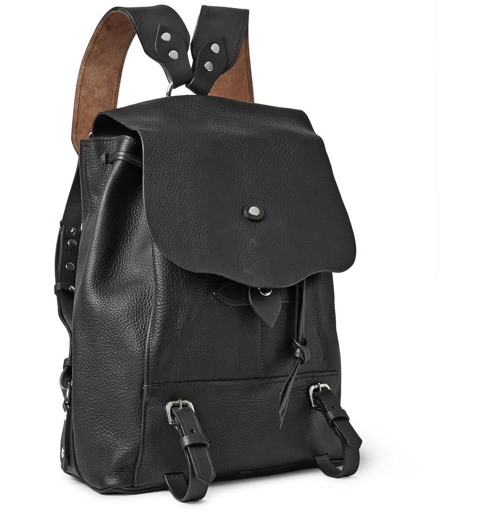 bill amberg hunter grained leather backpack in black for men lyst. Black Bedroom Furniture Sets. Home Design Ideas