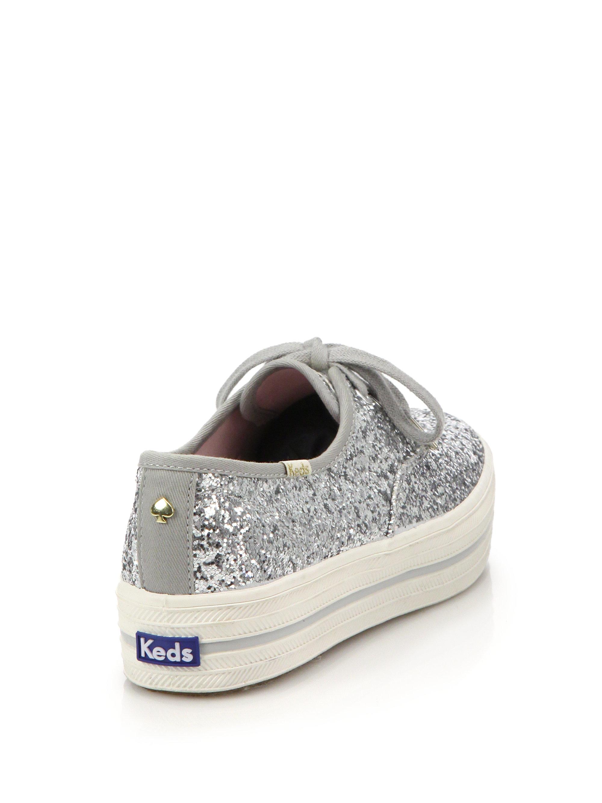 03976d4fb74bb Lyst - Kate Spade Keds For Triple-kick Glitter Platform Sneakers in ...