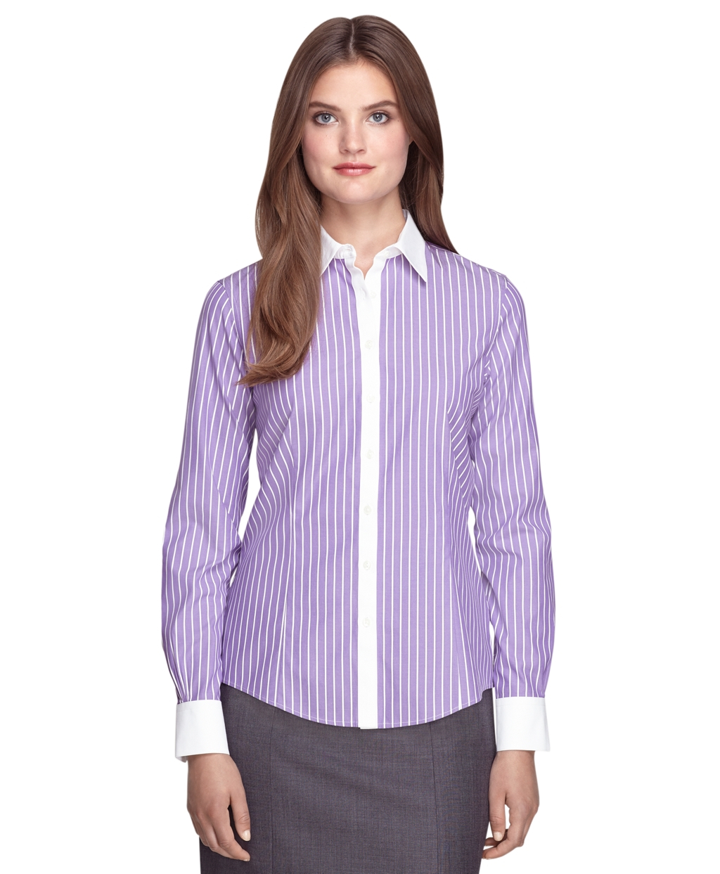 Brooks brothers non iron tailored fit wide stripe dress for Tailored fit dress shirts