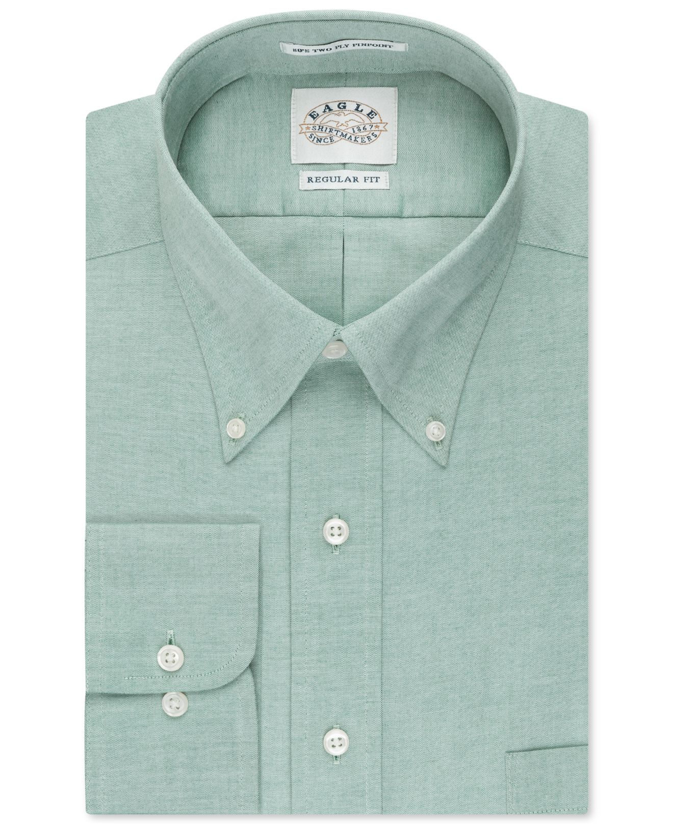 Lyst eagle non iron pinpoint dress shirt in green for men for What is a non iron shirt