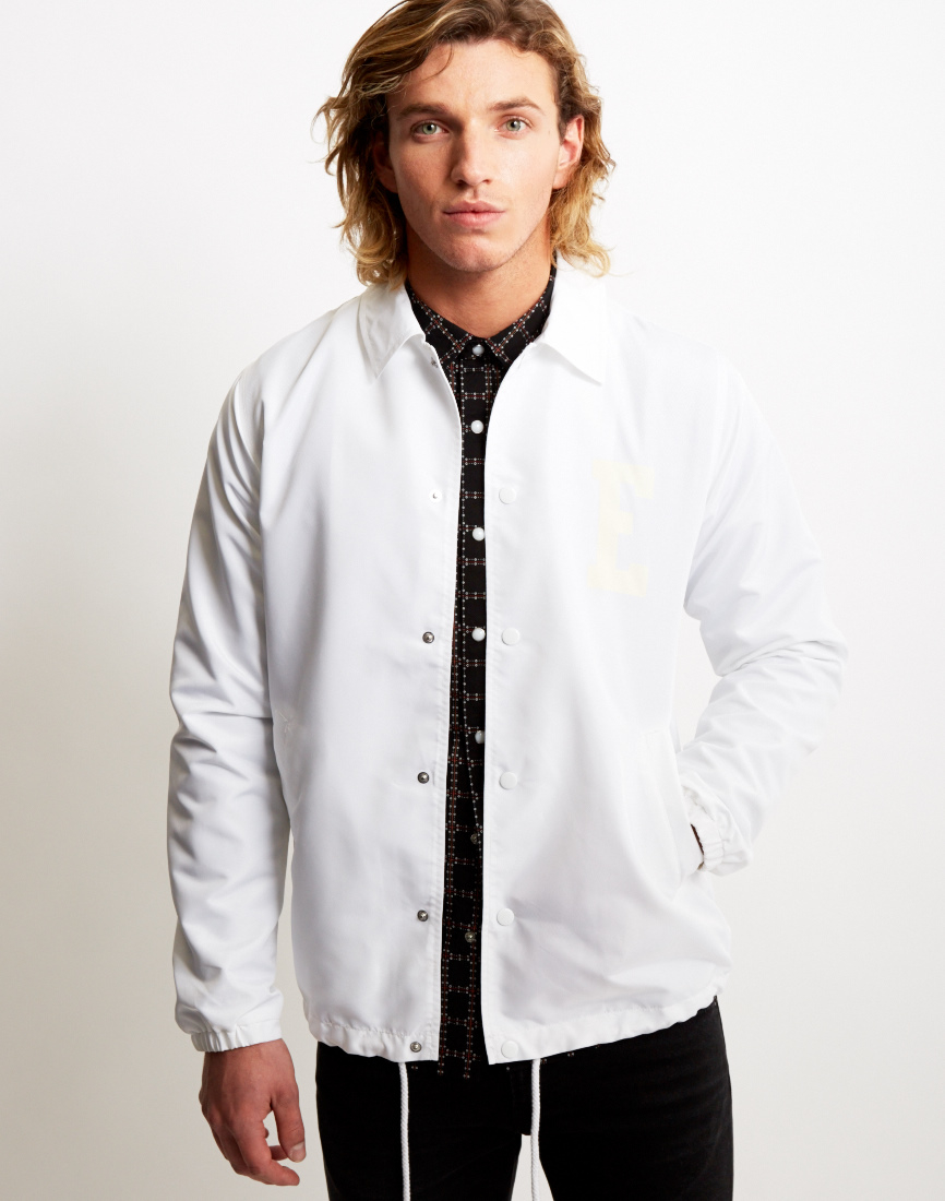 lyst edwin coach jacket white in white for men. Black Bedroom Furniture Sets. Home Design Ideas