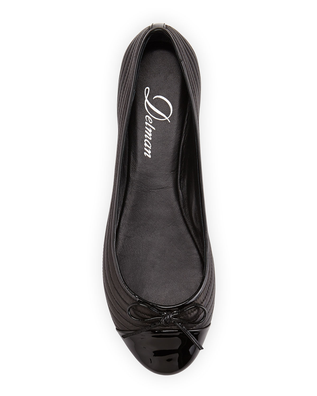 c28d027fa36 Lyst - Delman Rise Quilted Cap-Toe Ballerina Flat in Black