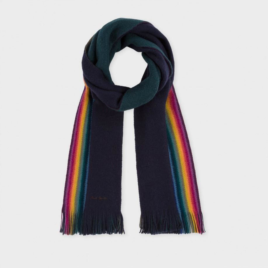 paul smith s navy rainbow stripe edge wool scarf in