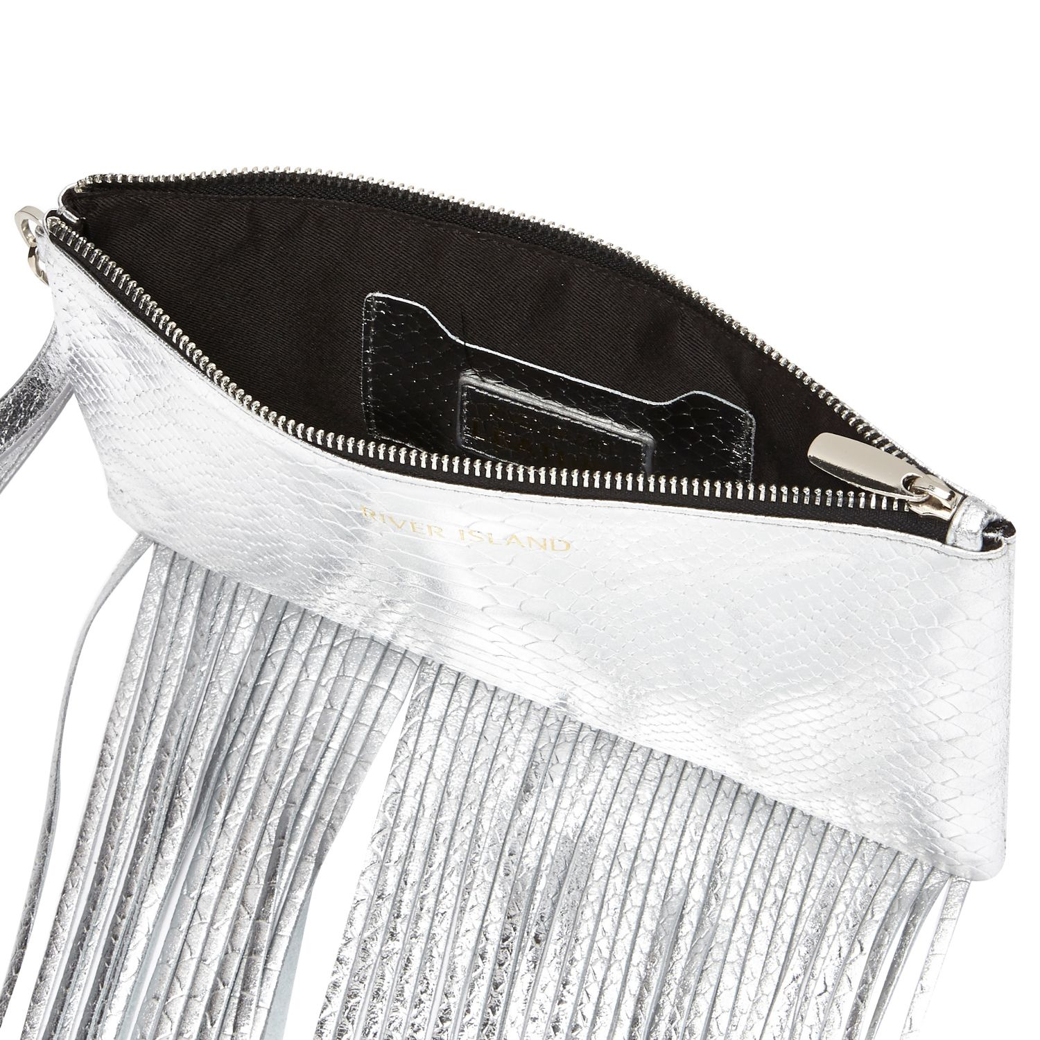 River Island Silver Snake Print Leather Fringed Clutch Bag in Gray ... 4d063d9593fc0