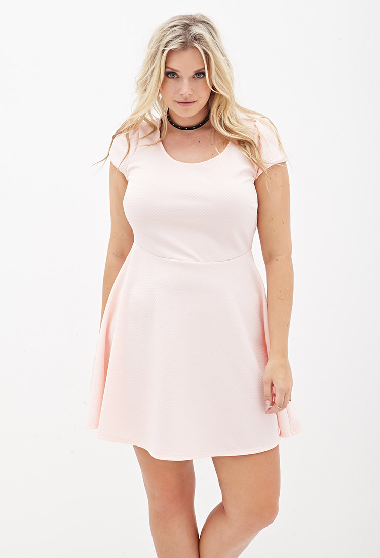 Plus Size Matelassã© Skater Dress