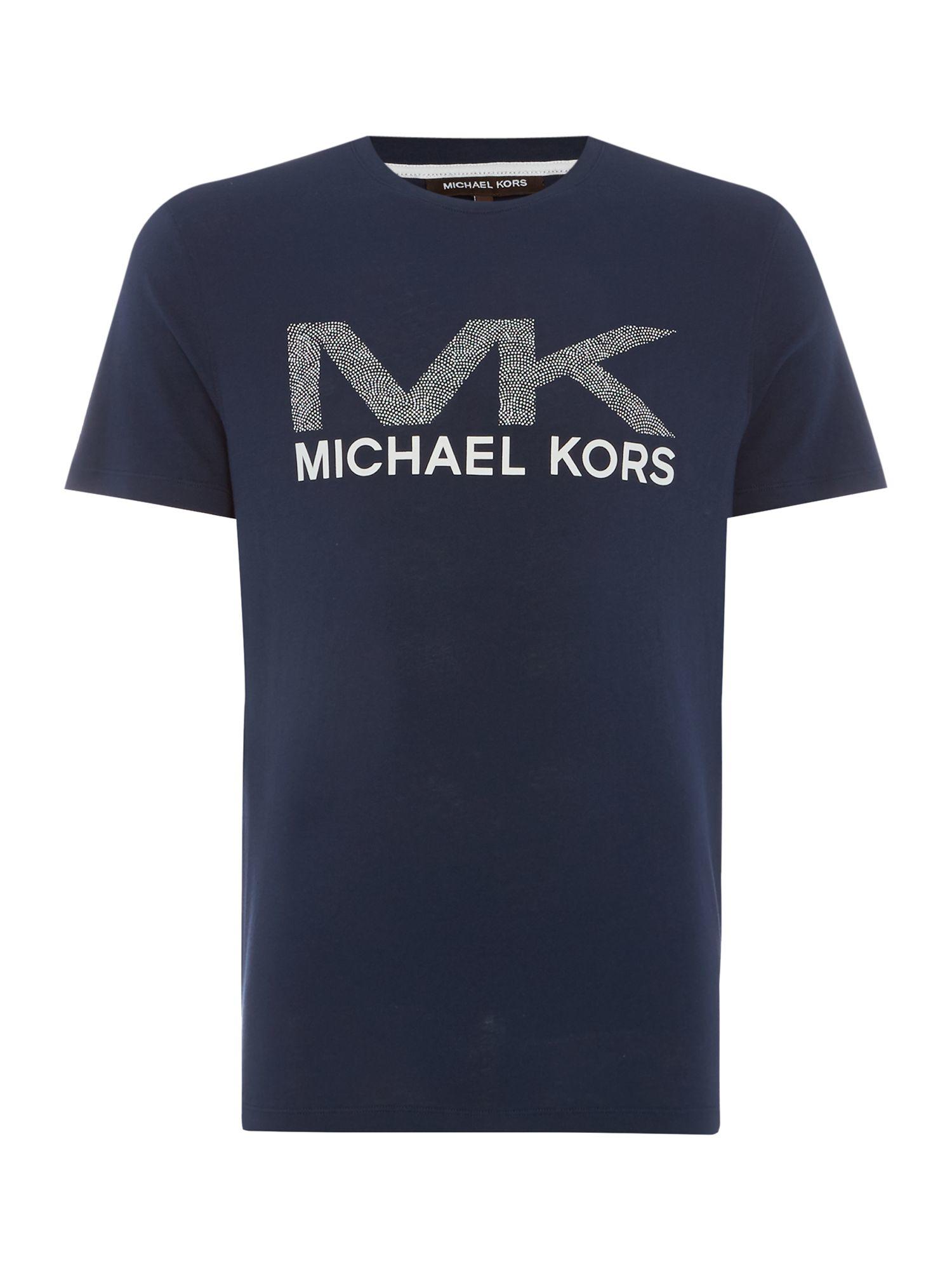 Lyst michael kors regular fit dotted mk logo print t for Print logo on shirt