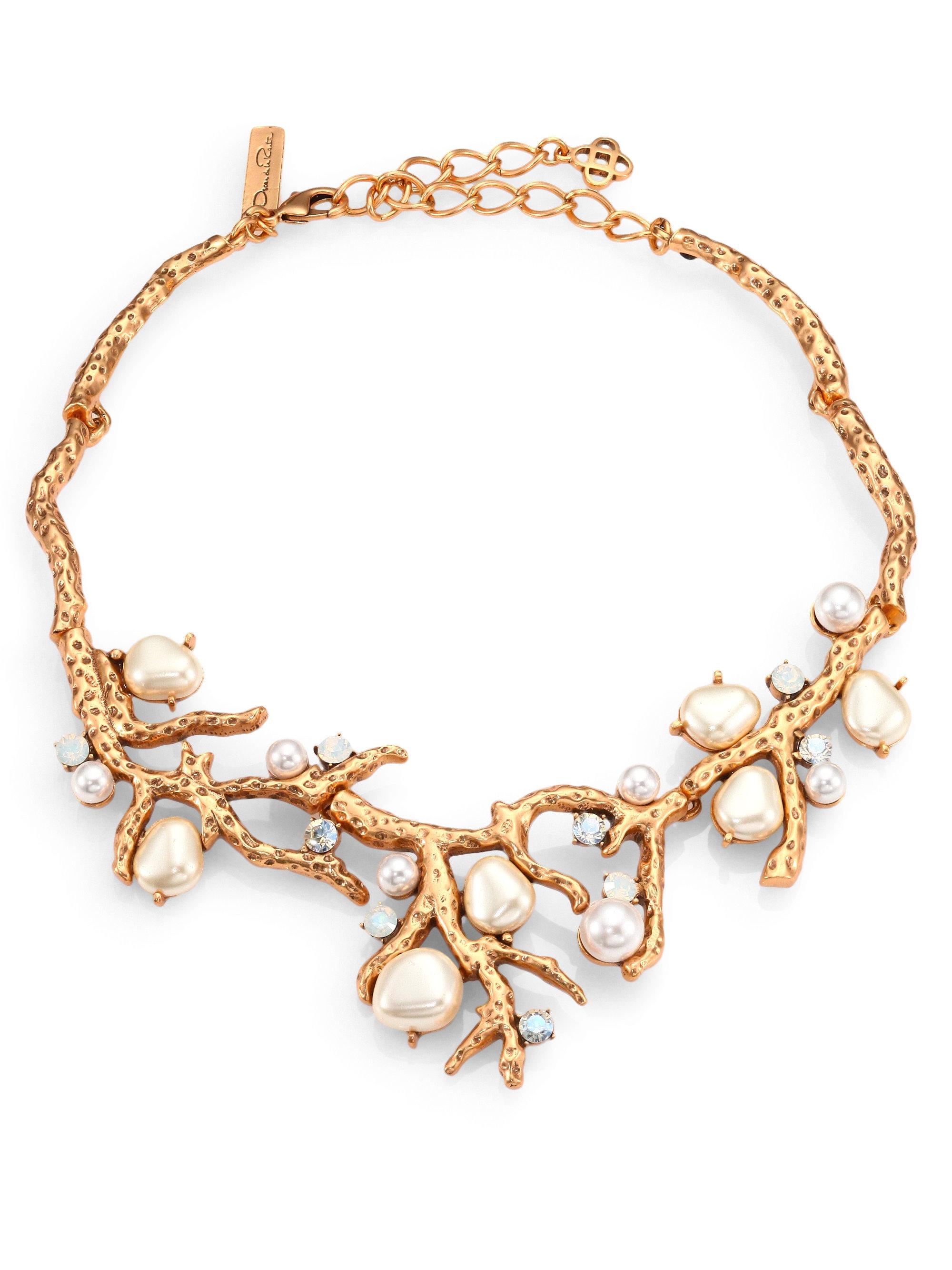 Oscar De La Renta Coral crystal necklace - Metallic RjV3EpCb