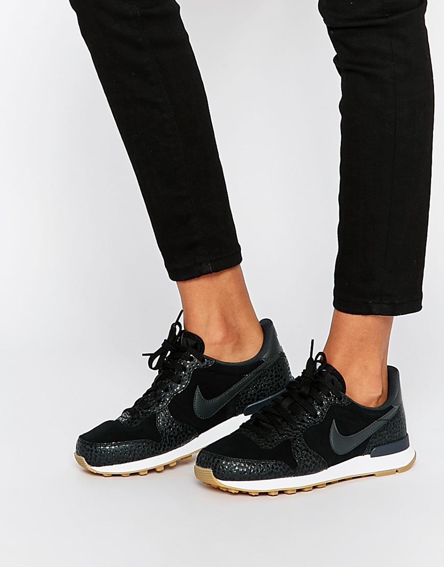 best cheap c7a62 43766 Nike Black Internationalist Premium Trainers in Black - Lyst