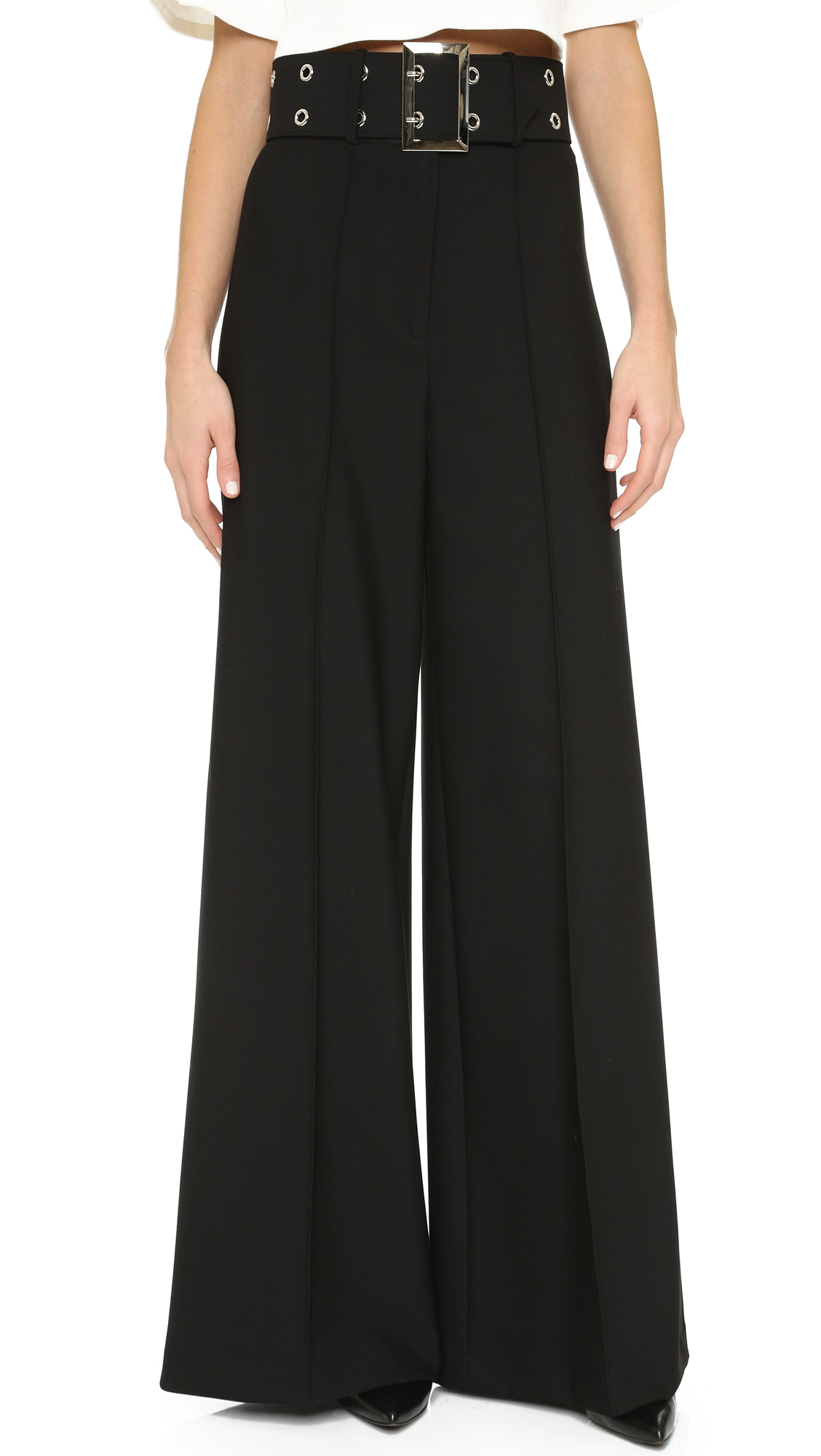 Lyst - Milly široke hlače za noge v črni barvi-5835