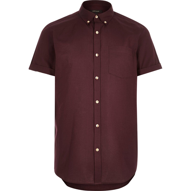 Lyst River Island Dark Red Short Sleeve Oxford Shirt In