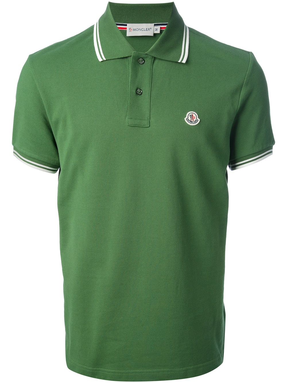 moncler striped trim polo shirt in green for men lyst. Black Bedroom Furniture Sets. Home Design Ideas