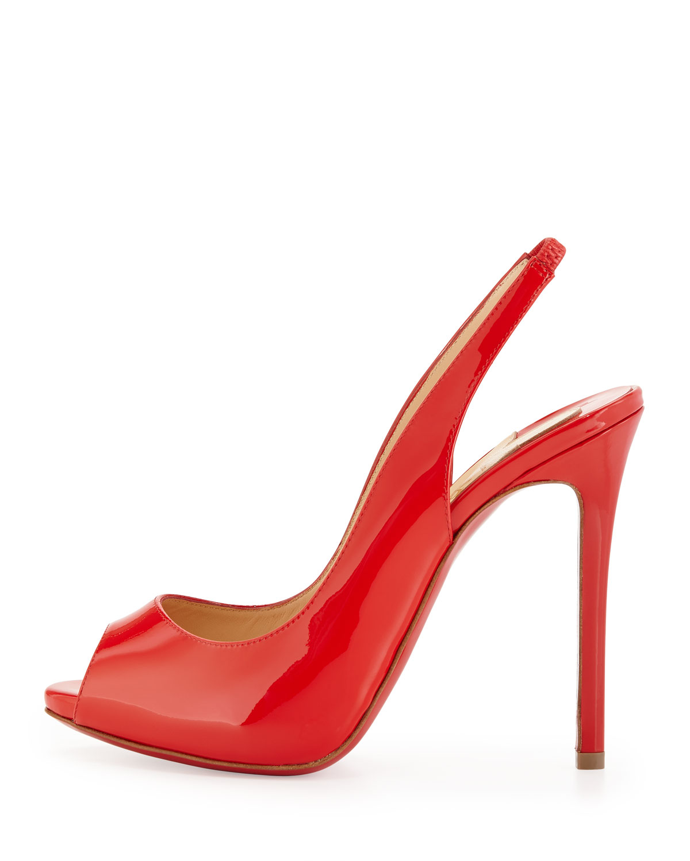 e72291e8321 Artesur » christian louboutin patent leather peep-toe Lady Sling ...