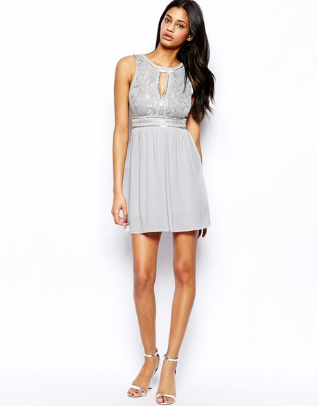Chiffon skater dress with lace embellished bodice cocktail dresses