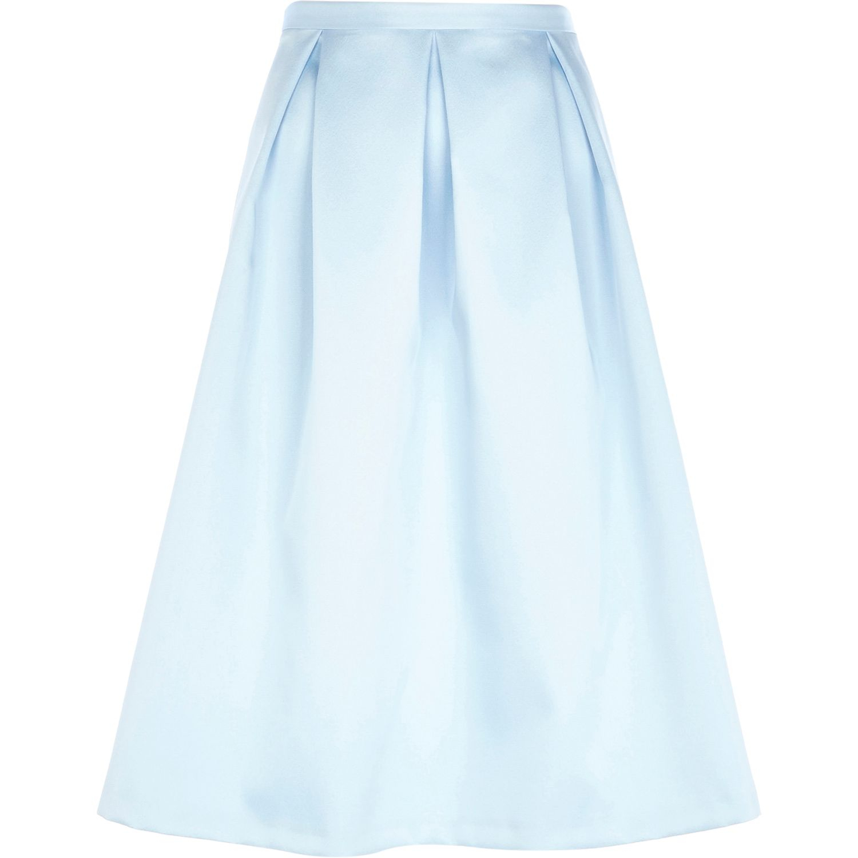 a515ea9b0e River Island Light Blue Satin Box Pleat Midi Skirt in Blue - Lyst