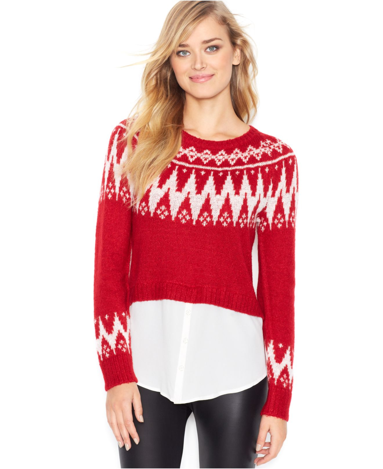 Kensie Long-Sleeve Layered-Look Fair-Isle Sweater (Only At Macy'S ...
