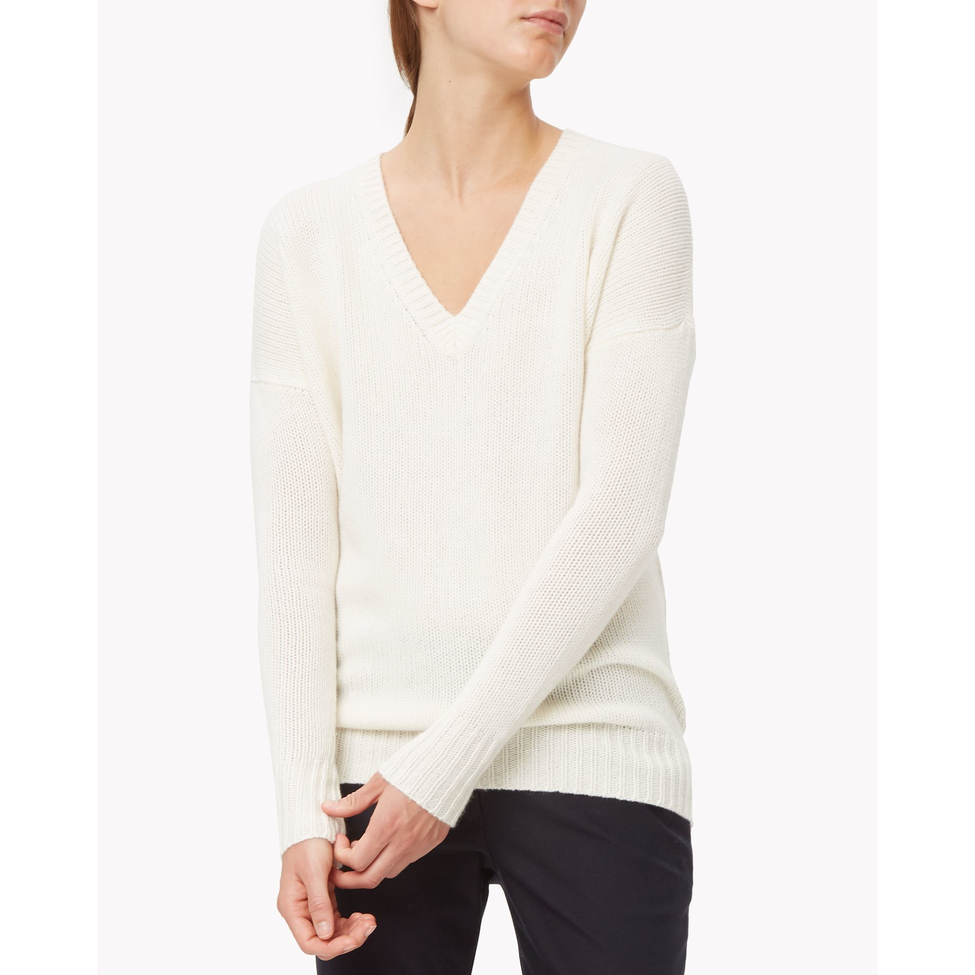 Theory Cashmere V-neck Sweater in White | Lyst