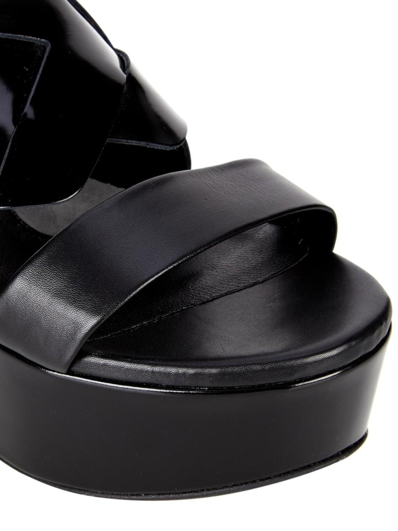 Clergerie Fliz Leather Flatform Sandals In Black Lyst
