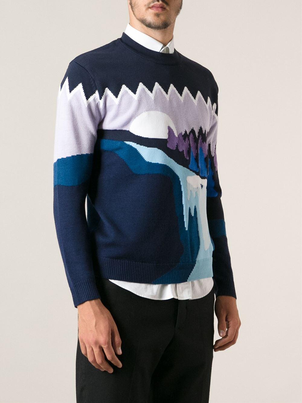 kenzo 39 landscape 39 intarsia sweater in blue for men lyst. Black Bedroom Furniture Sets. Home Design Ideas