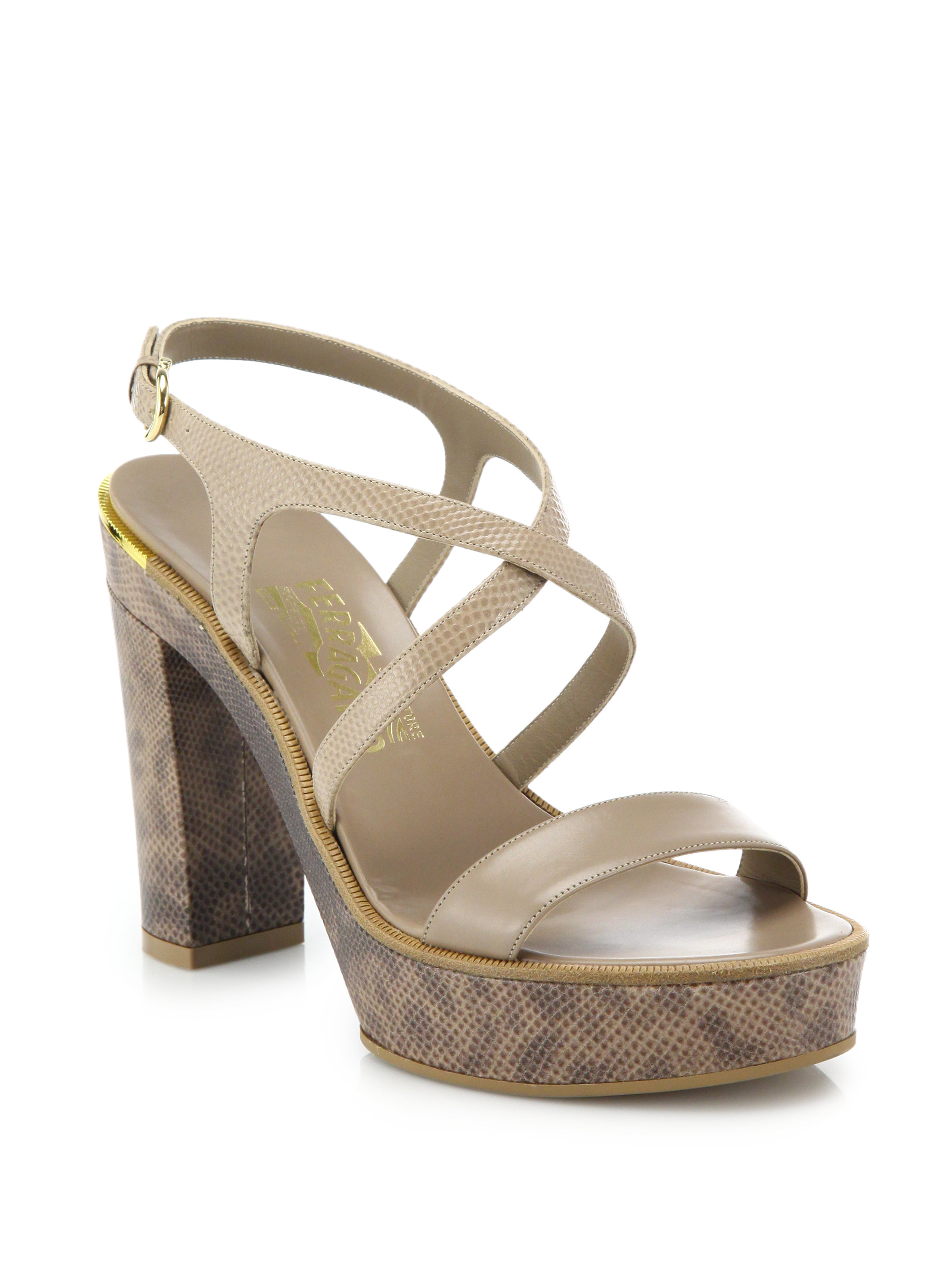 766e325dd128 Lyst - Ferragamo Gina Python-embossed Leather Platform Sandals in ...