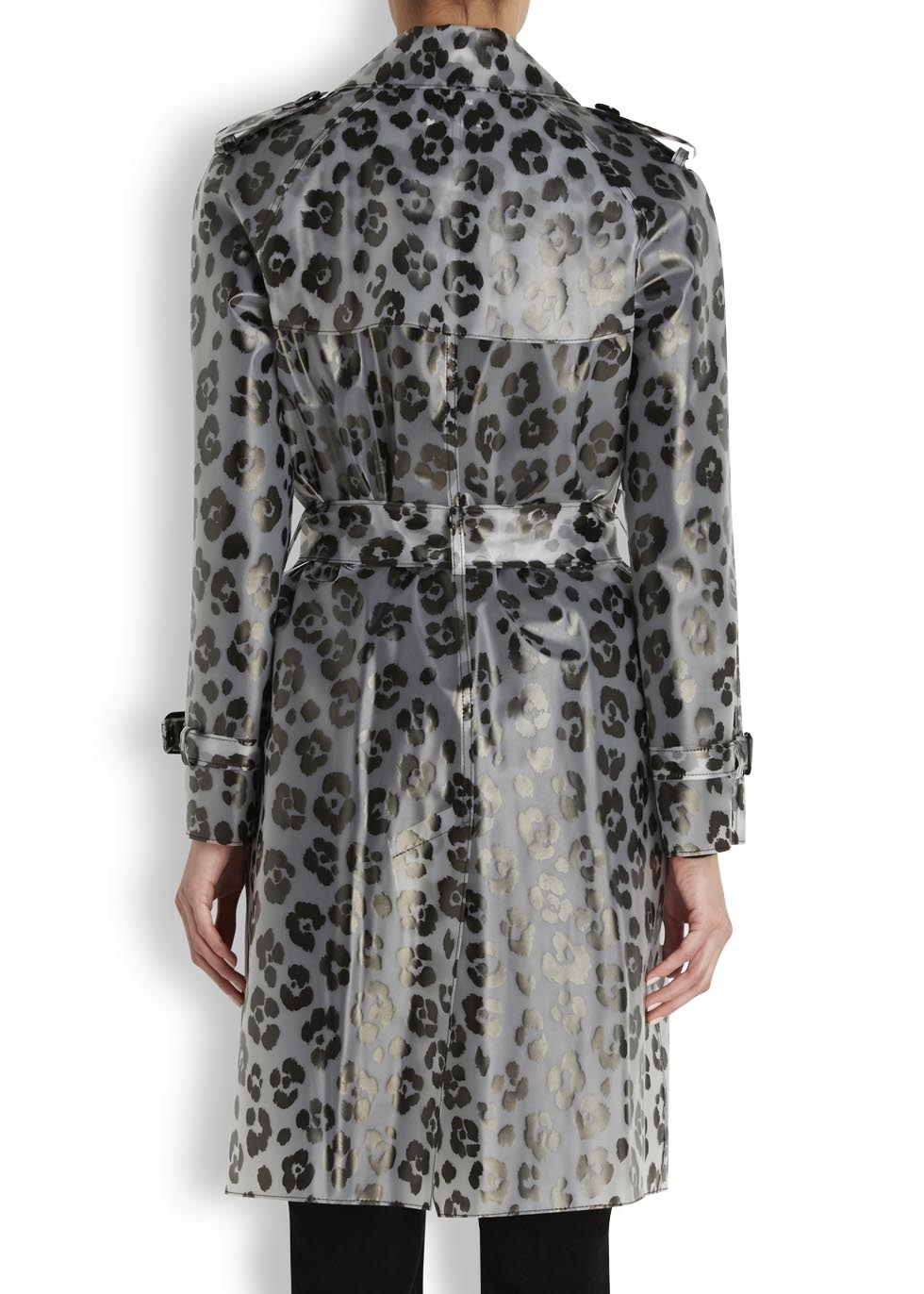 Boutique Moschino Leopard Print Trench Coat In Natural Lyst