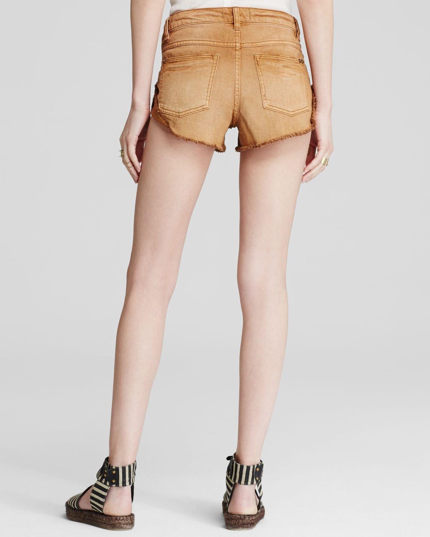 Free People Womens Army Burnt Orange Cut Off Distressed Denim Jean Shorts
