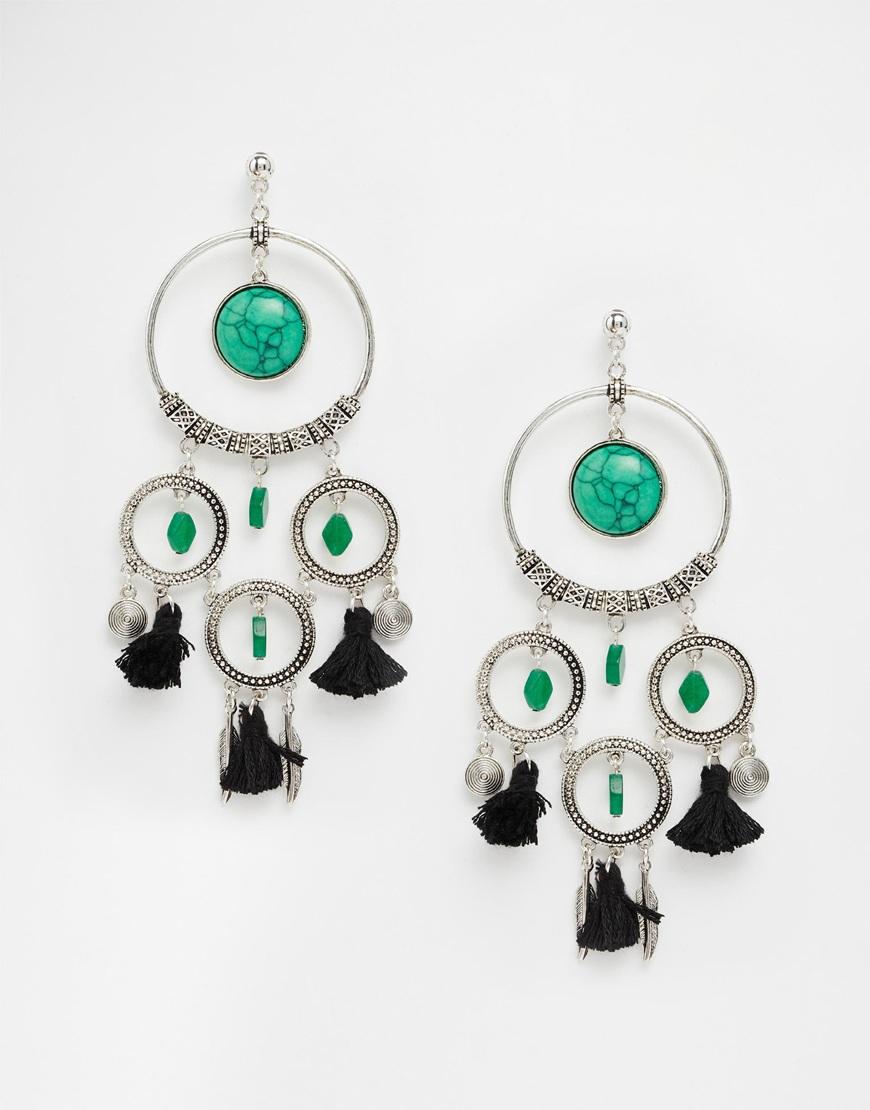 Asos Badlands Feather & Tassel Dreamcatcher Earrings in ...