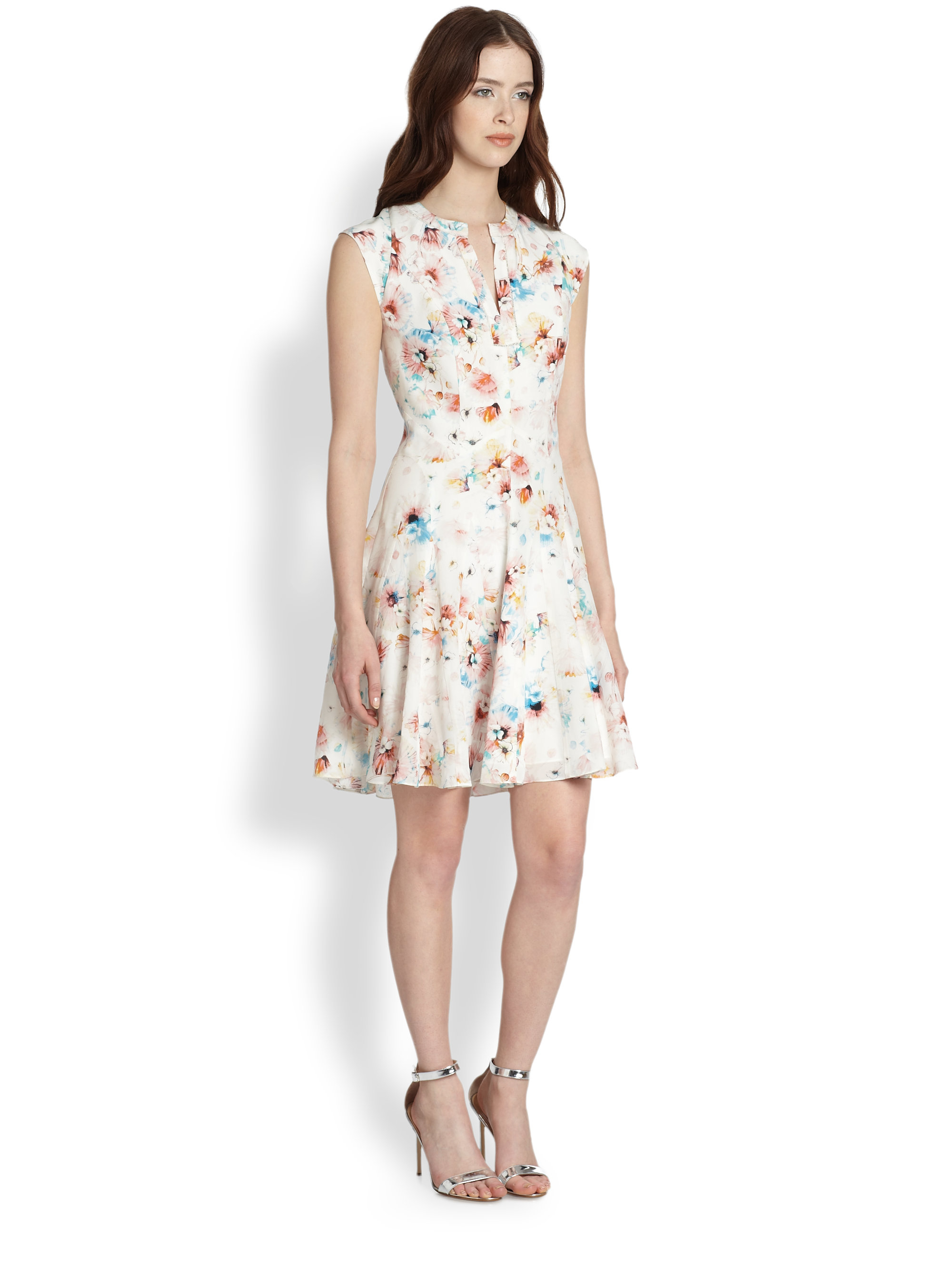 Lyst Rebecca Taylor Poppyprinted Silk Godet Dress