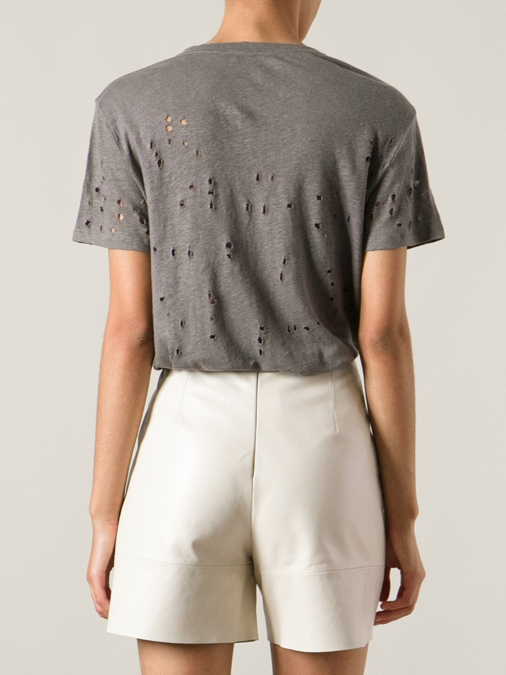Lyst iro distressed t shirt in gray for How to make a distressed shirt