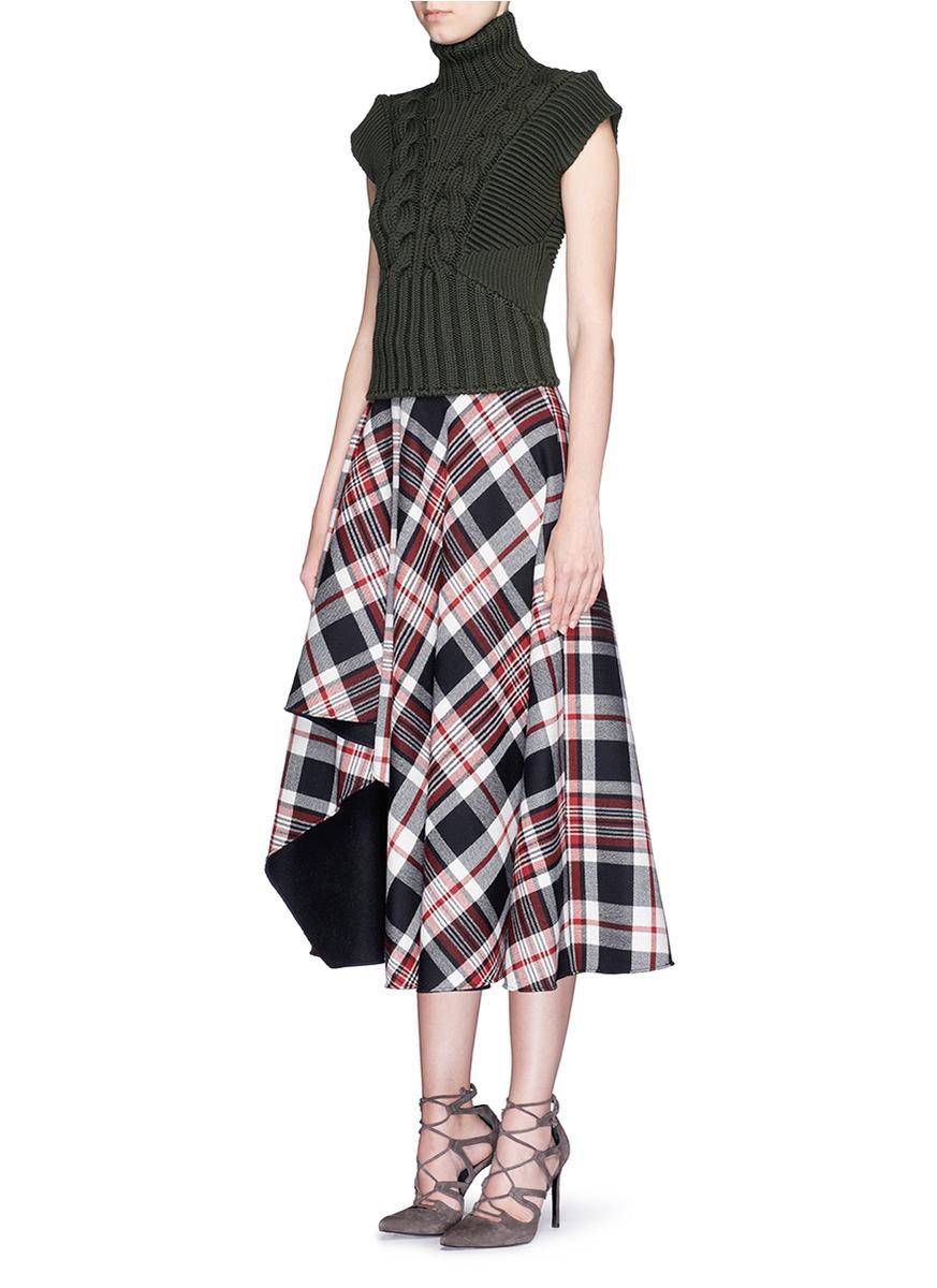 b88e7af4b4 Alexander McQueen Asymmetric Hem Tartan Plaid Wool Midi Skirt in ...