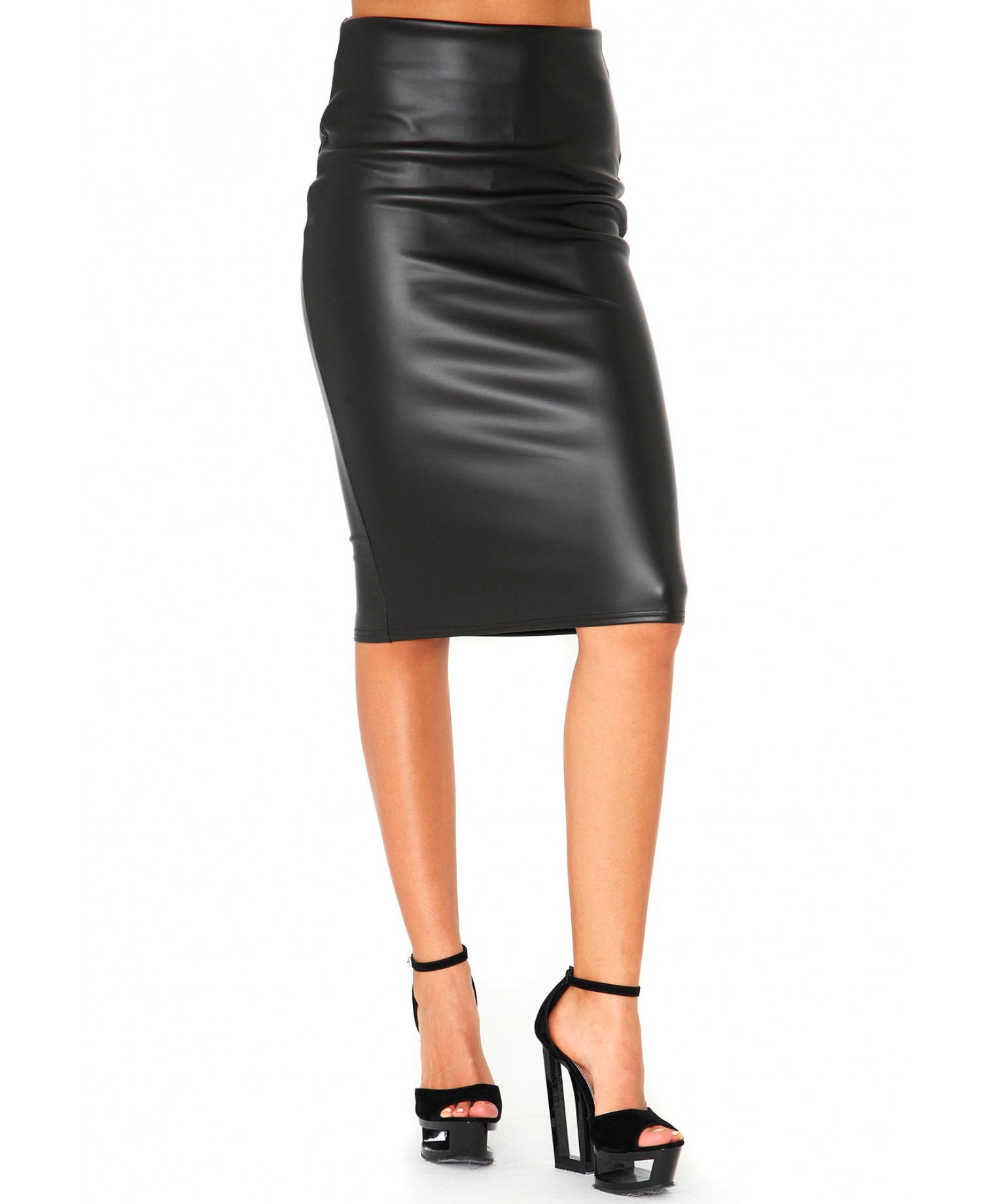 Lyst - Missguided Korie Leather Look Pencil Skirt in Black