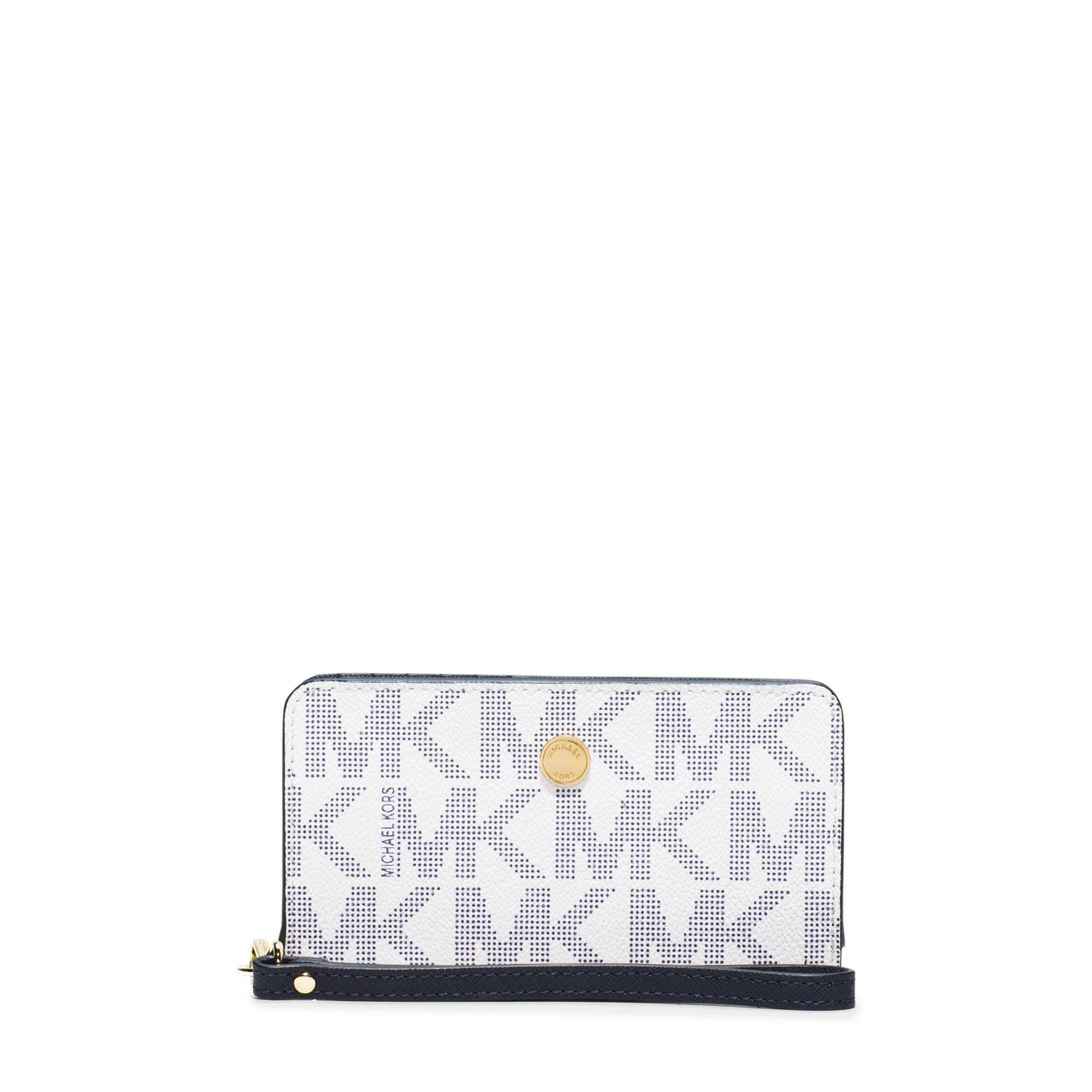 28a7f4f521cb Lyst - Michael Kors Jet Set Travel Continental Wallet in Blue