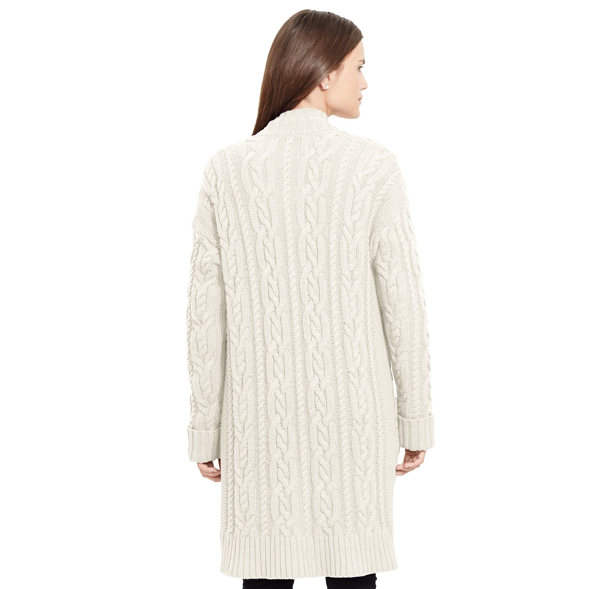 Ralph Lauren Cable Knit Cotton Cardigan In Natural Lyst