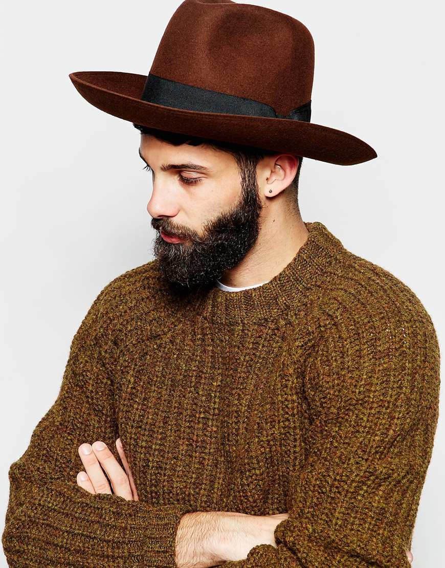 Lyst - ASOS Oversized Fedora In Brown Felt With Wide Brim And Turn ... 44746eaa87b