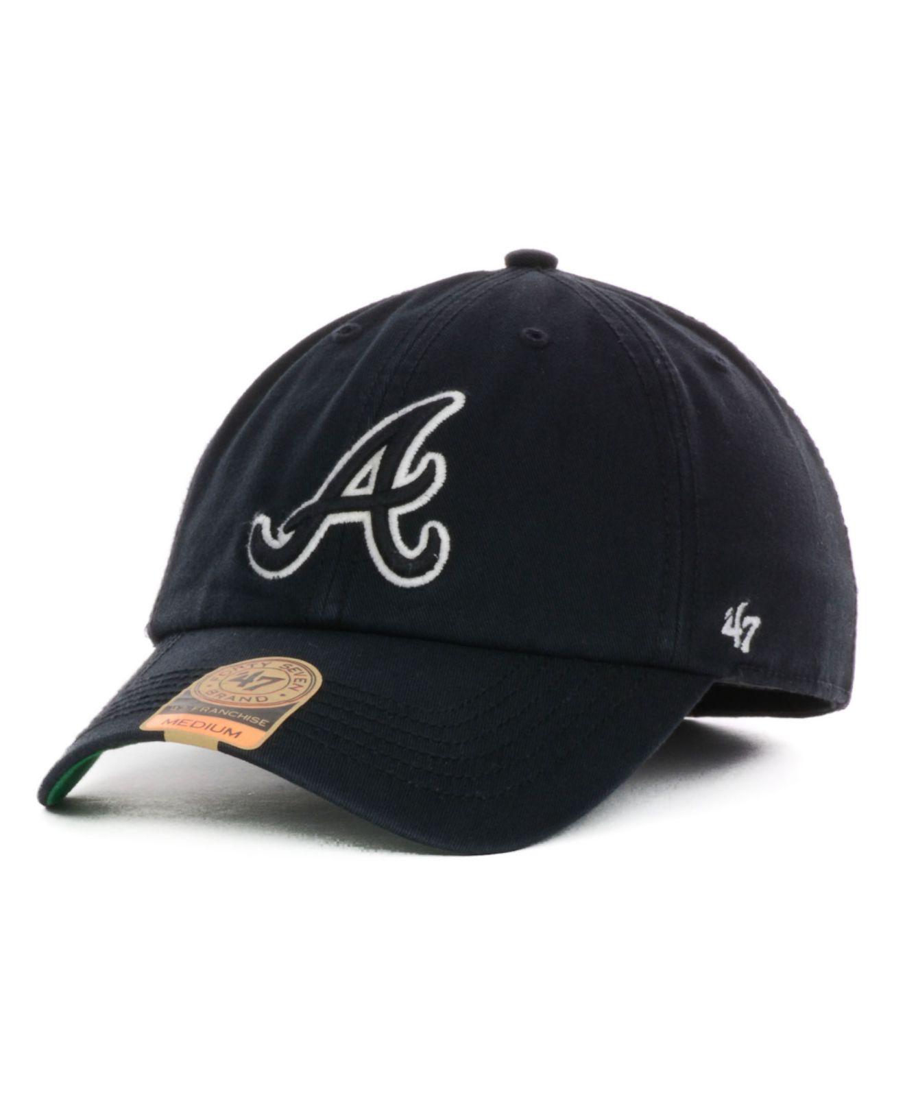 47 Brand Atlanta Braves Lights Out Franchise Cap In Black