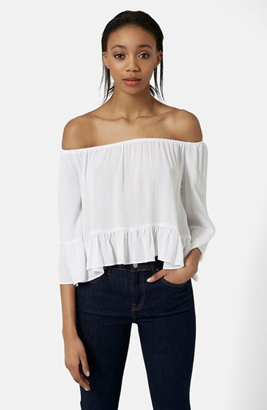 5e58d26e87a18 Lyst - TOPSHOP Off The Shoulder Top in White
