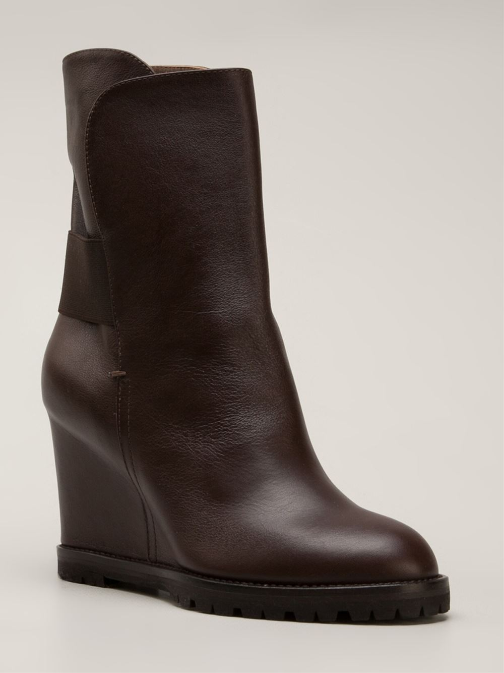 chuckies new york wedge boots in brown lyst