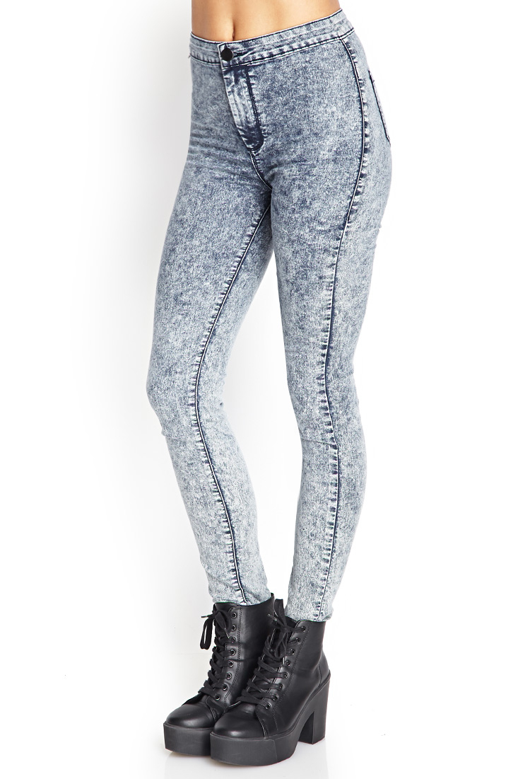 Forever 21 High Waisted Acid Wash Jeans In Blue Lyst