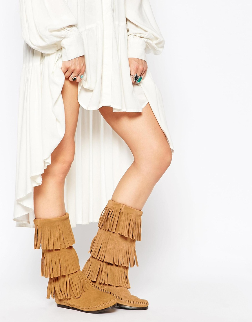 Minnetonka Taupe Suede 3 Layer Fringe Boots in Brown   Lyst