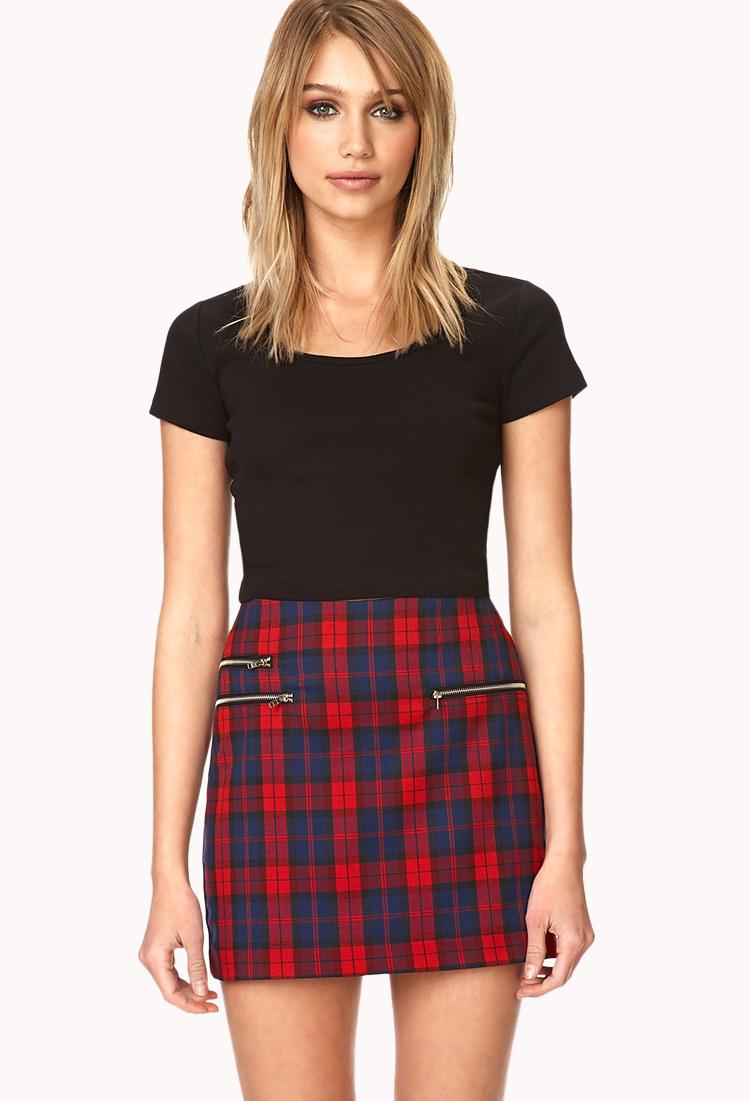 Forever 21 Prep School Plaid Skirt In Blue Lyst