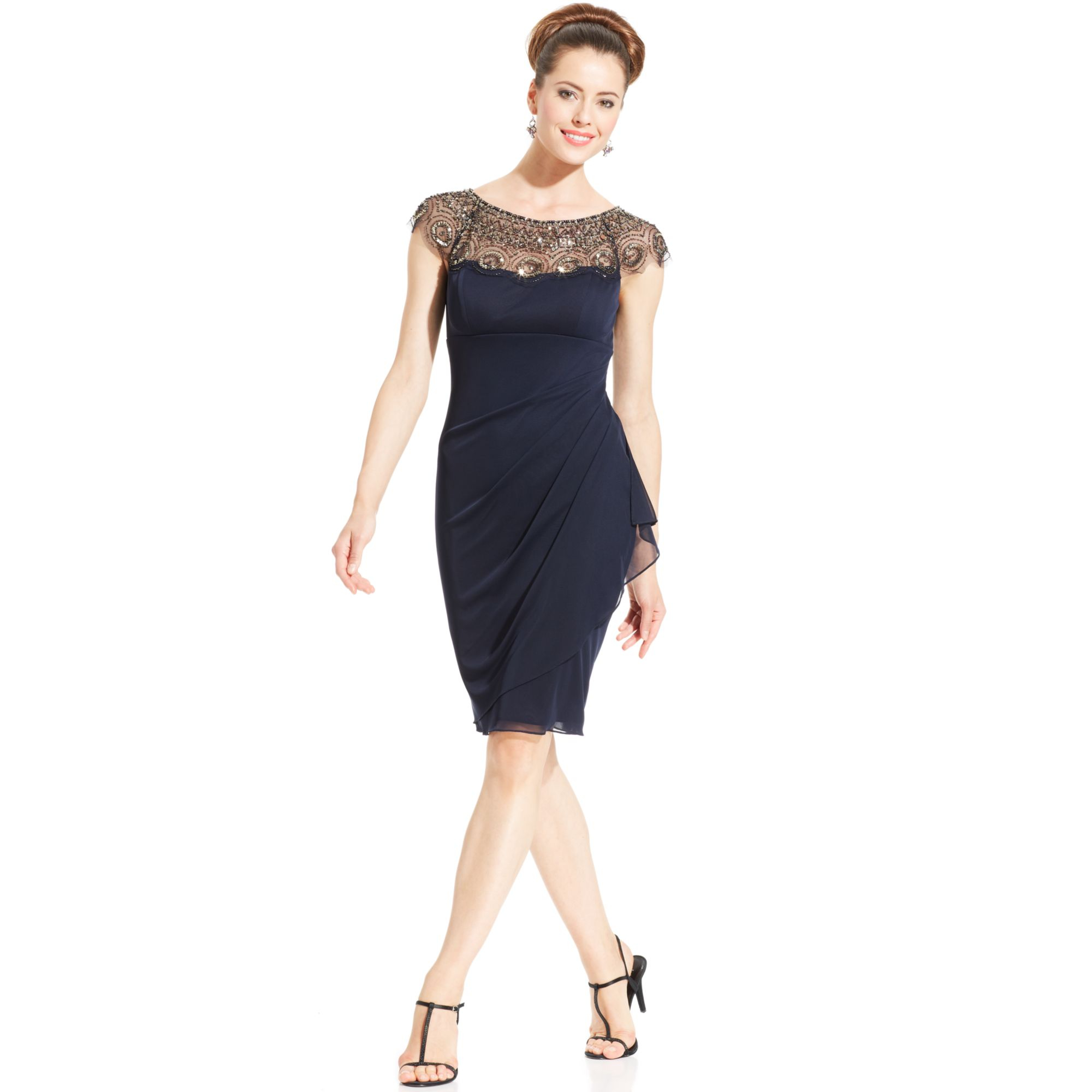 xscape cap sleeve illusion beaded dress in blue navy lyst