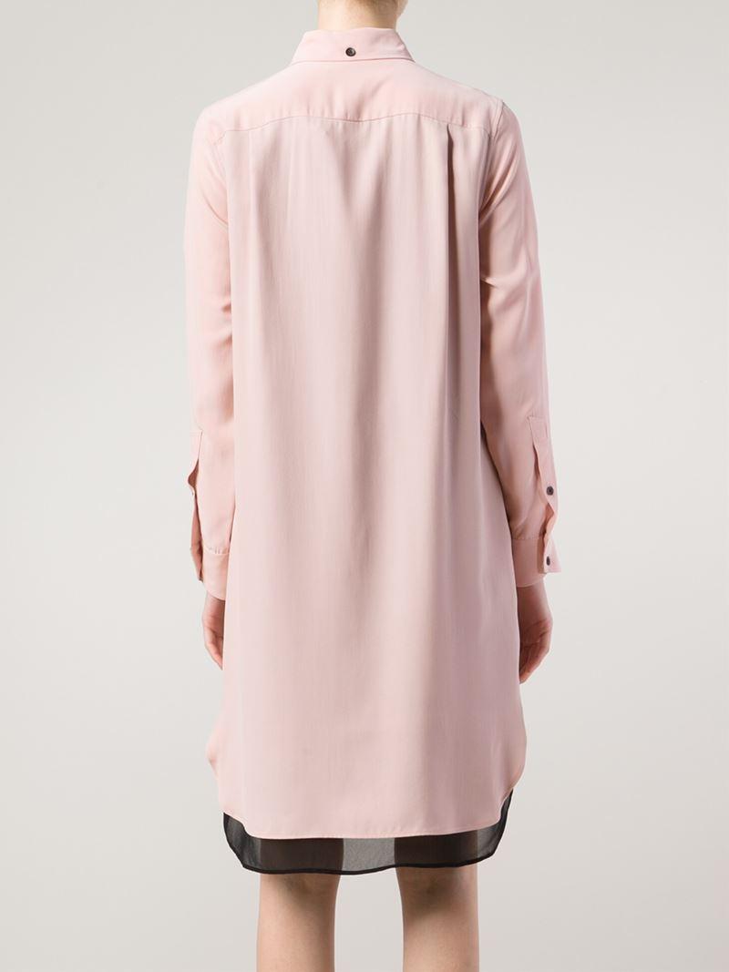 Lyst rag bone shirt dress in pink for Rag bone shirt