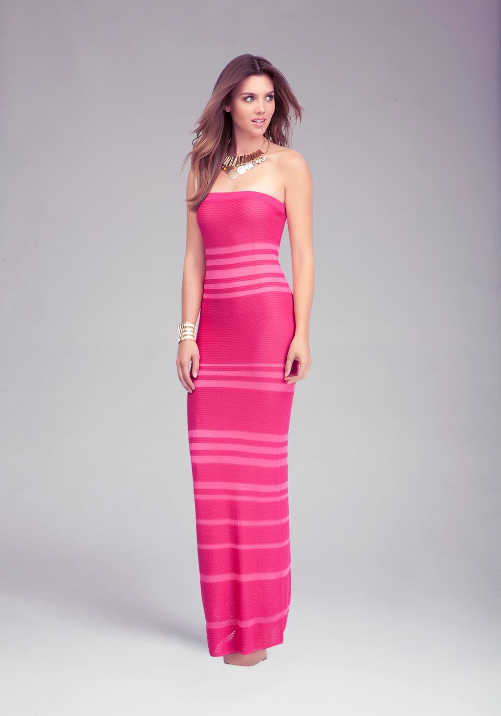 Lyst Bebe Sheer Opaque Strapless Maxi Dress In Pink