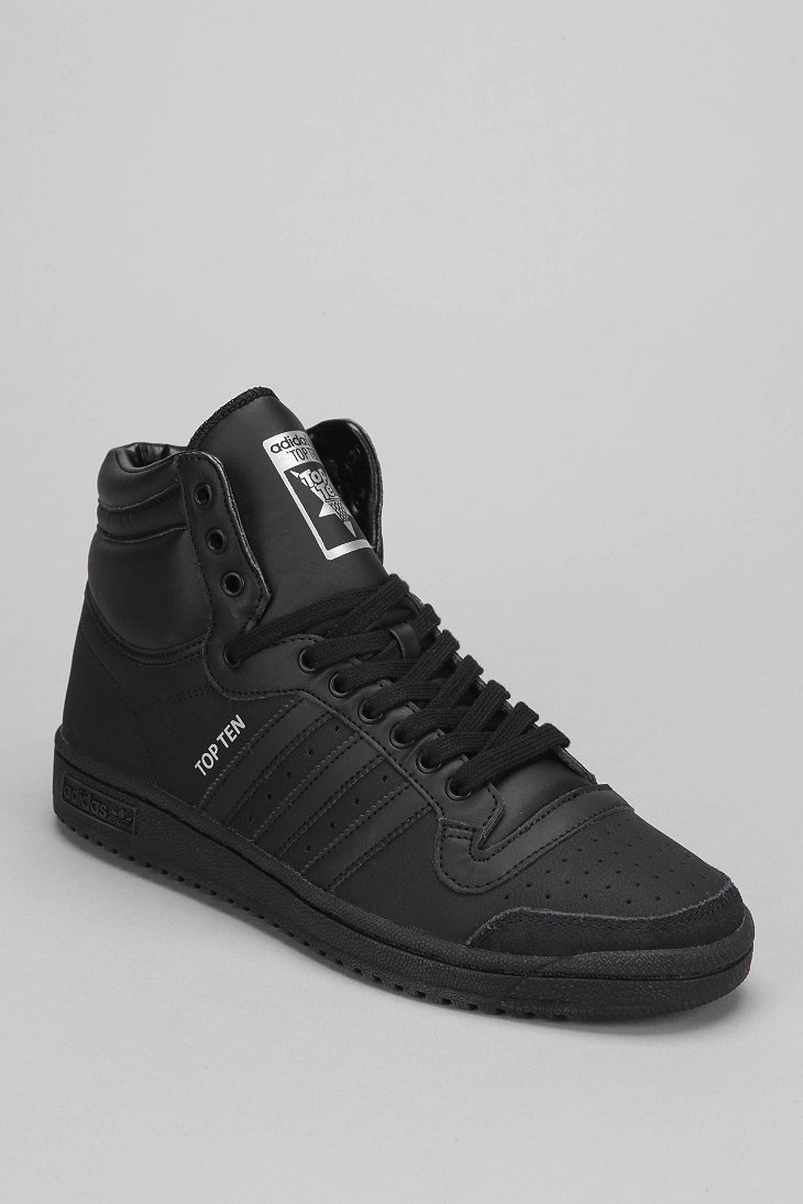 adidas originals top 10 high top sneaker in black for men lyst. Black Bedroom Furniture Sets. Home Design Ideas