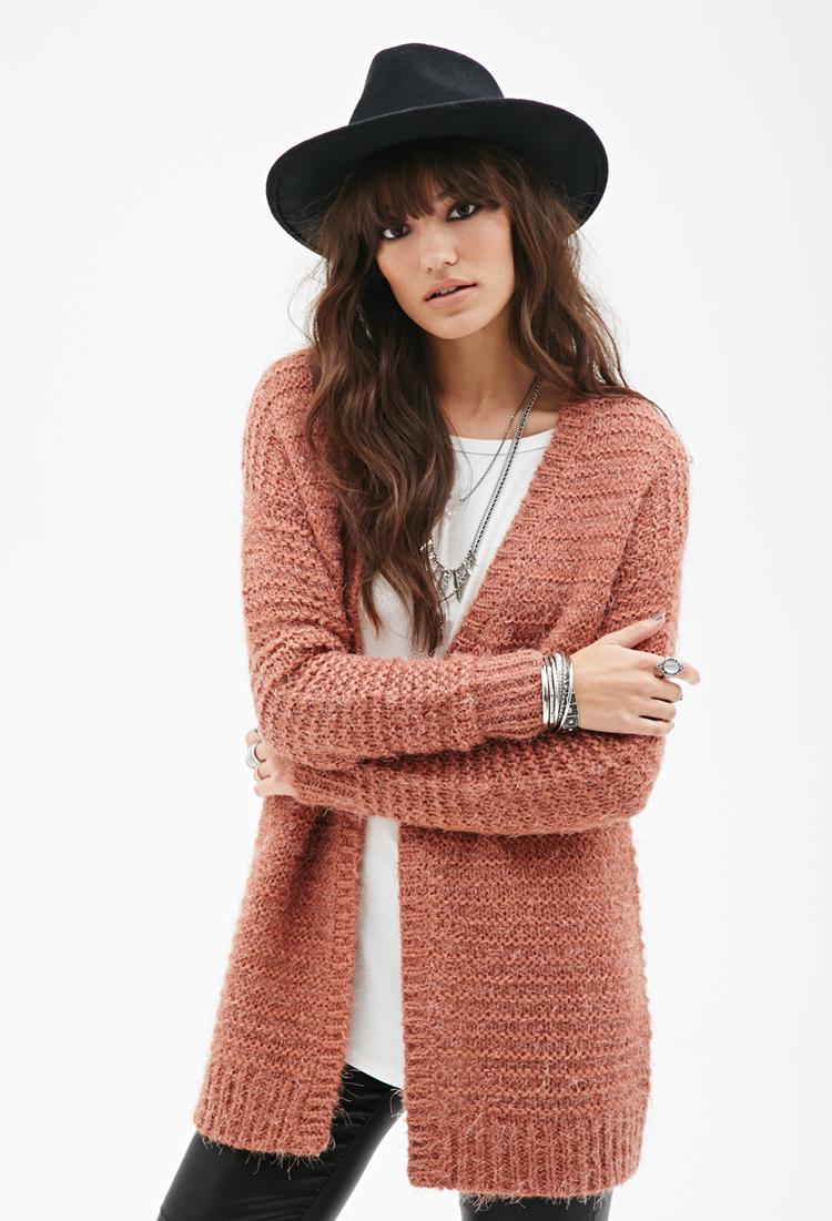 Forever 21 Fuzzy Stripe Knit Cardigan in Purple | Lyst