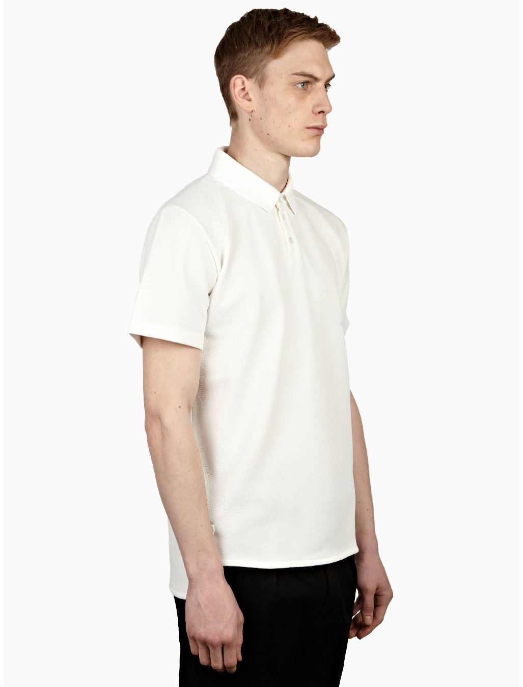 jil sander mens white textured polo shirt in white for men. Black Bedroom Furniture Sets. Home Design Ideas