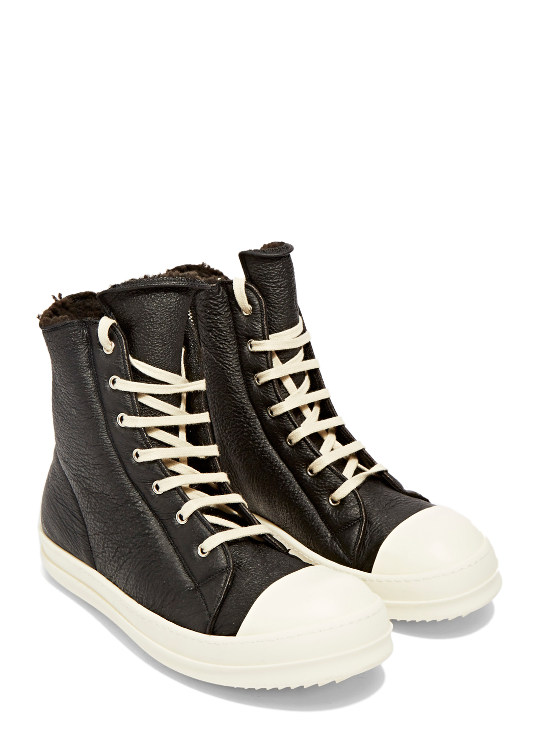 Rick Owens Shearling High-Top Sneakers