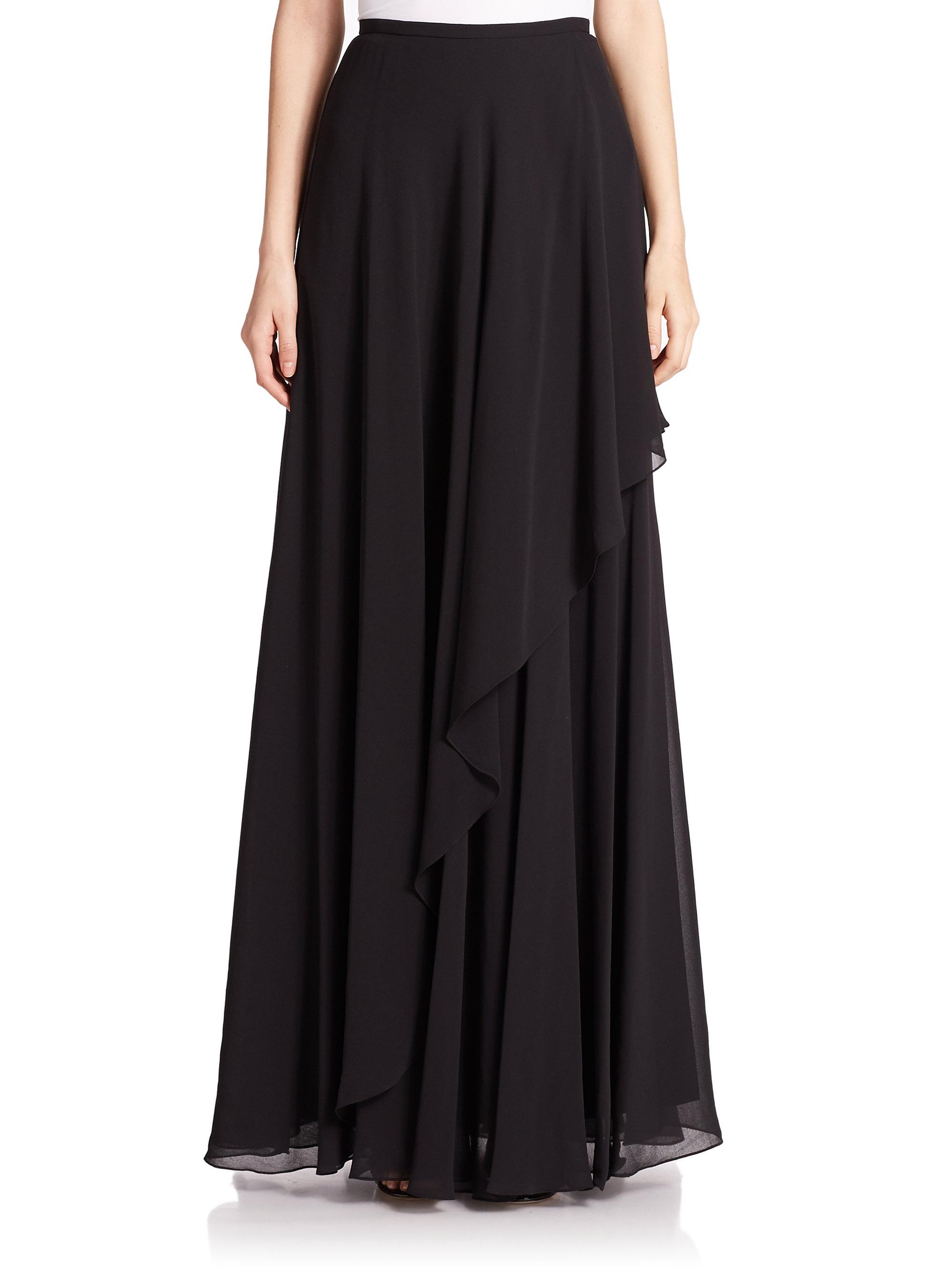 teri jon chiffon asymmetrical maxi skirt in black lyst