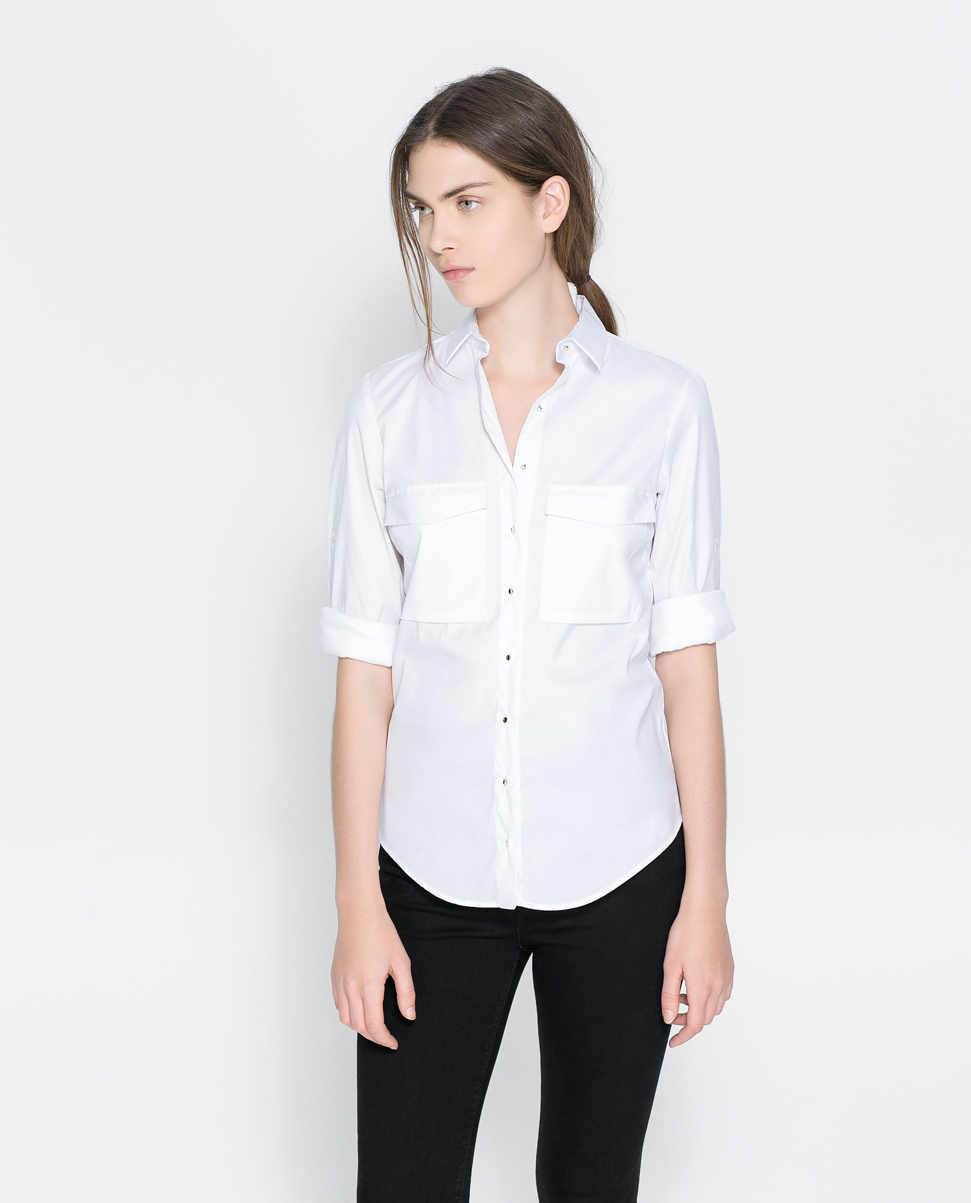 Zara shirt with pockets in white lyst for Zara mens shirts sale