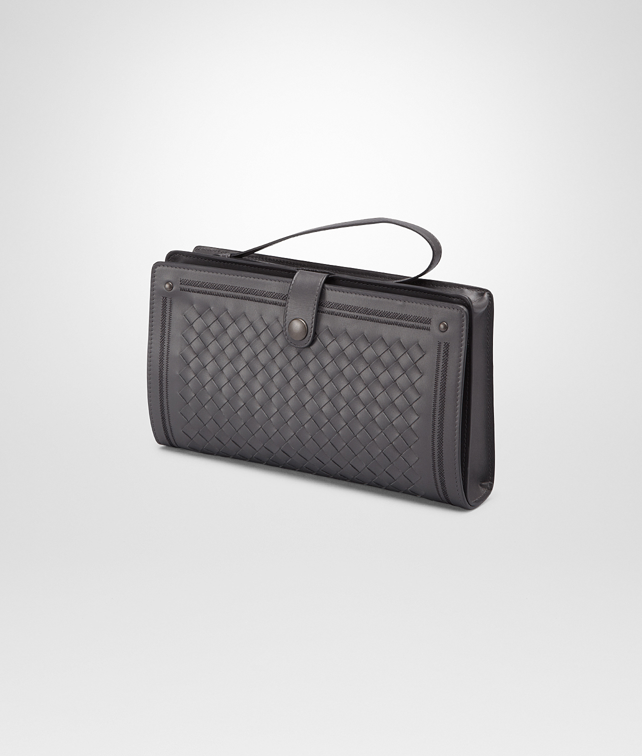 21317b3aa174 Lyst - Bottega Veneta Medium Grey Nero Intrecciato New .